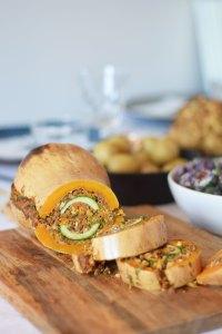 Ovnbagt butternut squash med courgette og linser