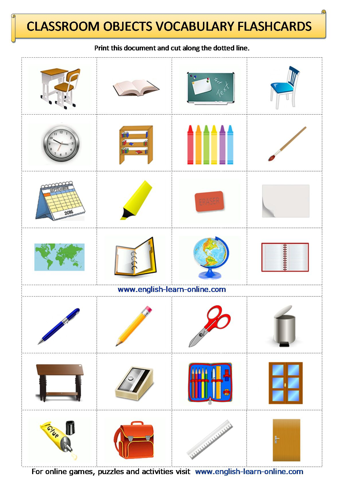 Classroom Objects Vocabulary In English