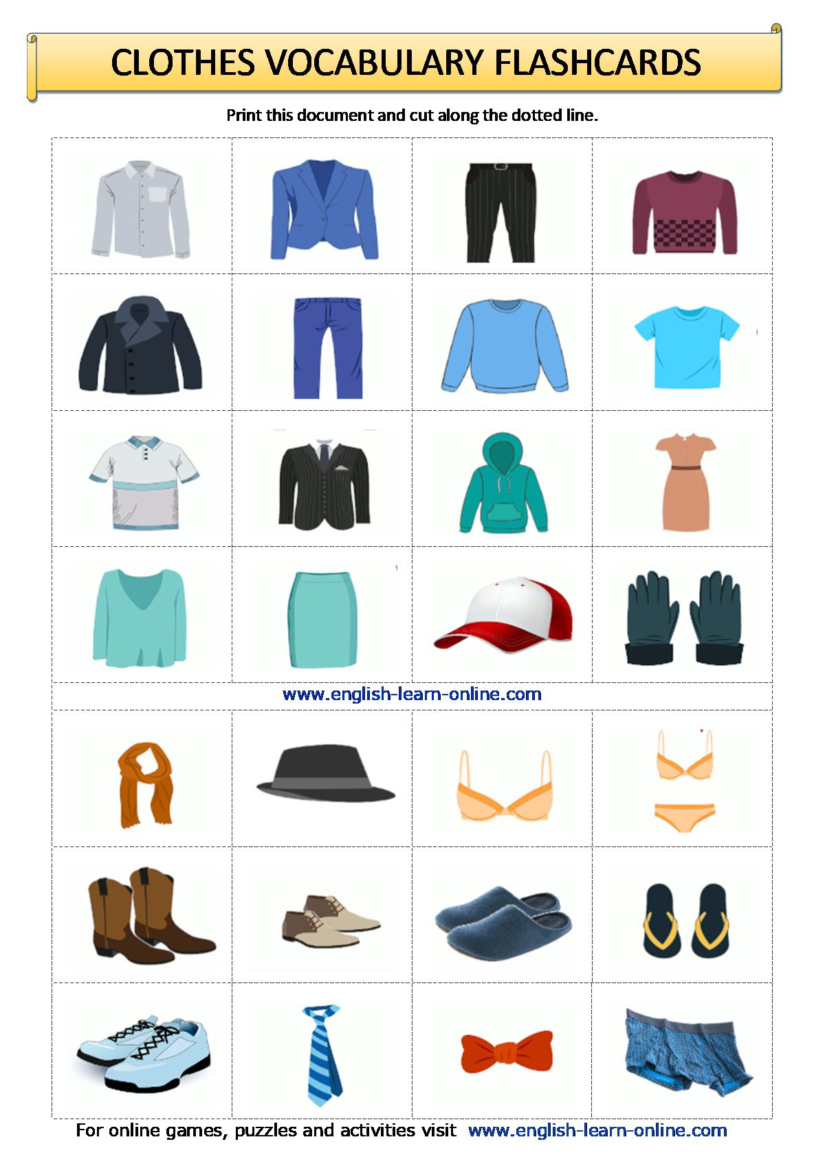 Clothes Vocabulary In English