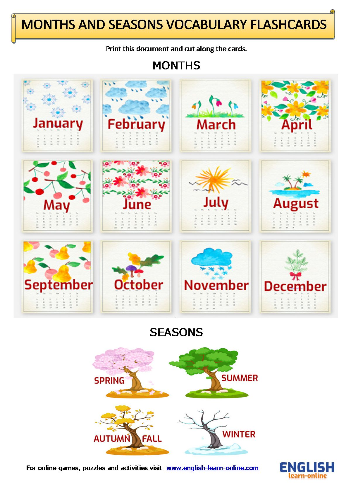 Days Months And Seasons In English