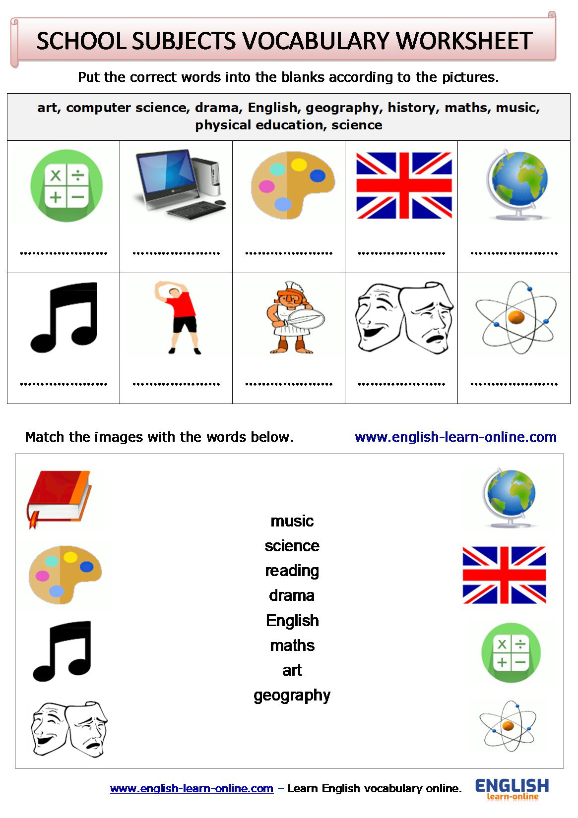 School Subjects In English Learn With Games Pictures And