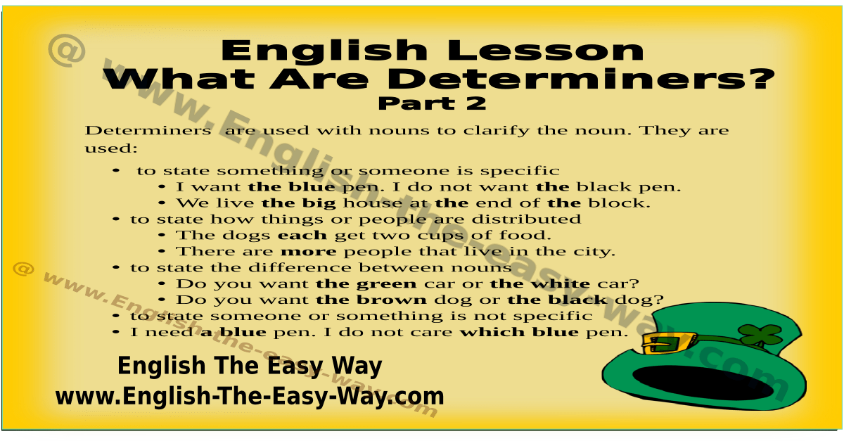 What Are Determiners? English Grammar English The Easy Way