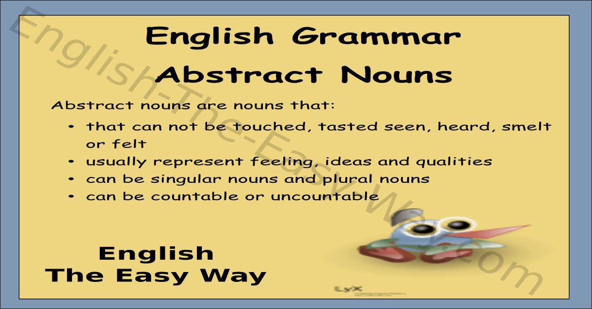Abstract Nouns  English Grammar  English The Easy Way