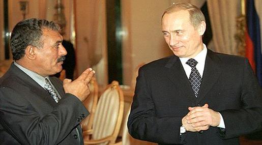 Former Yemeni President Ali Abdullah Saleh and Russian President Vladimir Putin