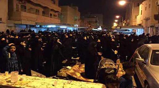 Bahraini protesters outside Ayatollah Qassim's residence