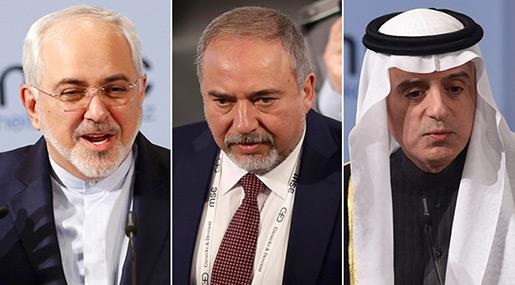 Iranian FM Mohammad Javad Zarif, Saudi FM Adel al-Jubeir and