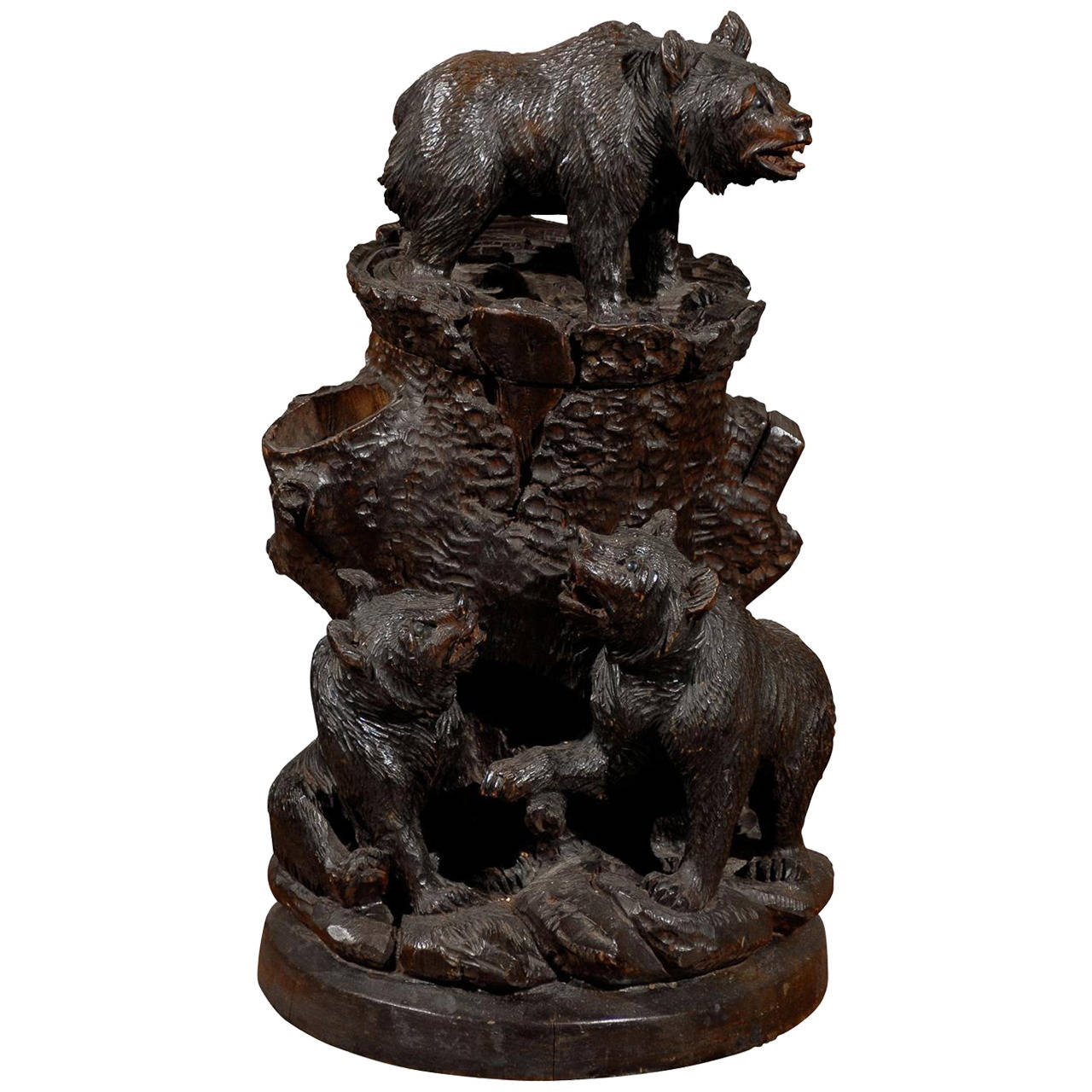 Swiss Black Forest Carved Wooden Bear Humidor from the