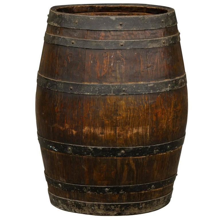 English Wooden Rustic Barrel  English Accent Antiques