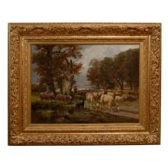 Animal Print Accent Chairs Desk Chair For Kids Large Antique Sheep Oil Painting In Gilt Frame - English Antiques