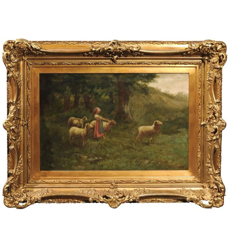 Large Antique Oil Painting of Sheep and Shepherdess in