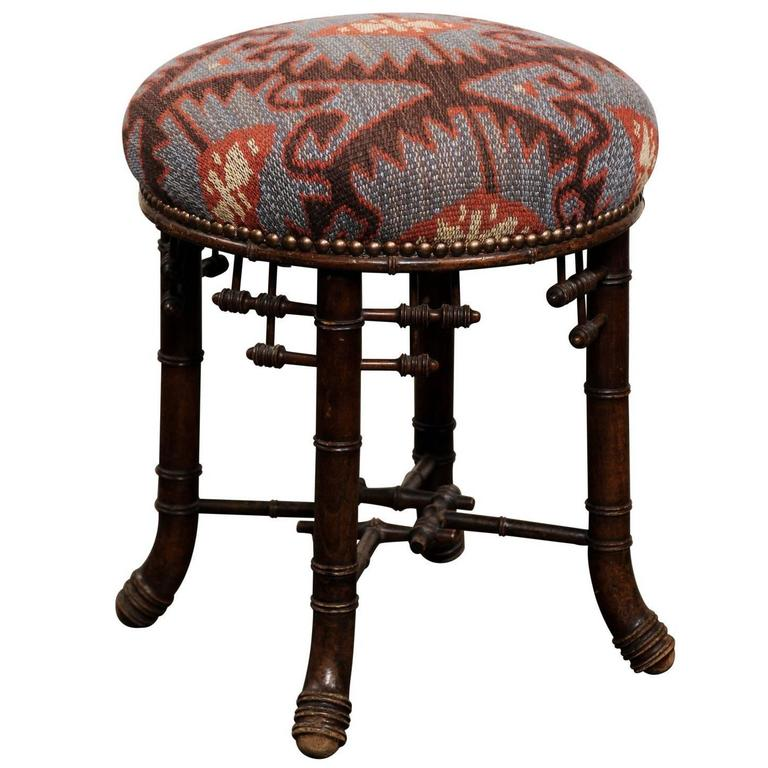 stool chair in chinese wrought iron lounge french chippendale style upholstered from the turn of century english accent antiques