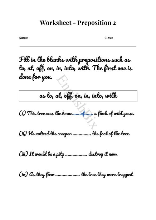 small resolution of Identify The Right Preposition Worksheet - EnglishBix