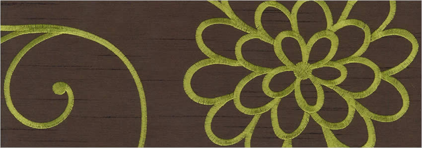 Contemporary Swirling Flowers Patterned Brown  Green Curtains