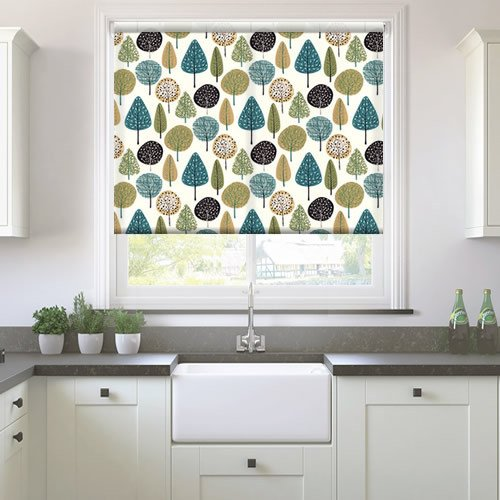 grey kitchen blinds outlets contemporary white green blue trees patterned roller thumbnail image
