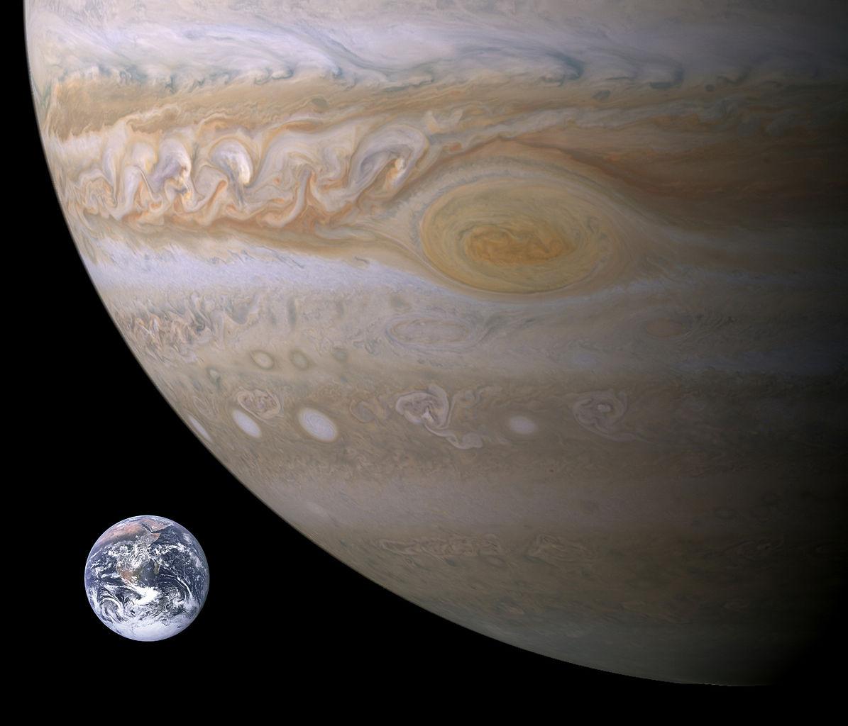 Jupiter-Earth comparison by NASA