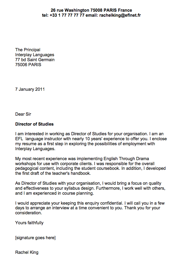 Sample cover letter for English teacher  Business English  EnglishClub