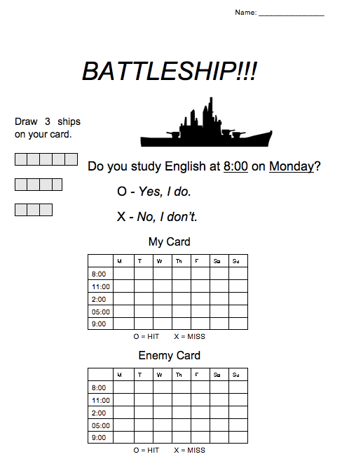 ESL Game: Battleship for Prepositions of Time (AT / ON)