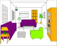 English Exercises: PREPOSITIONS - with rooms and furniture