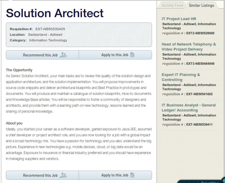 solution architect cv example