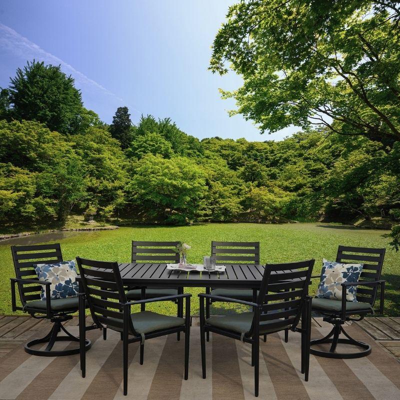 bedford 7 piece cast aluminum outdoor patio furniture dining set