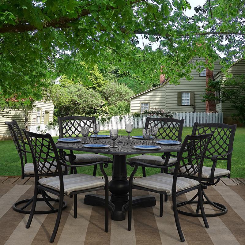 lakeside 7 piece cast aluminum outdoor patio furniture dining set