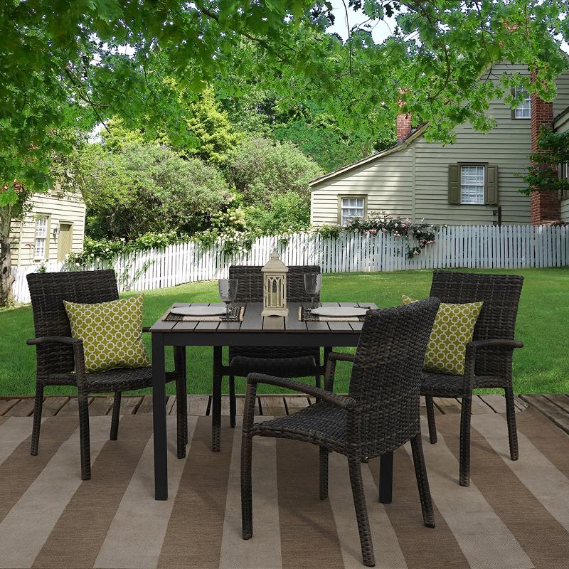 luna pier 5 piece outdoor patio furniture dining set