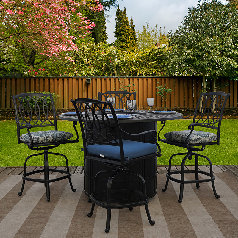 mayfair 5 piece cast aluminum outdoor patio furniture dining set with counter height patio fire table