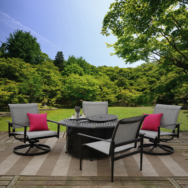 metro 5 piece outdoor patio furniture set with patio fire table and sling chairs