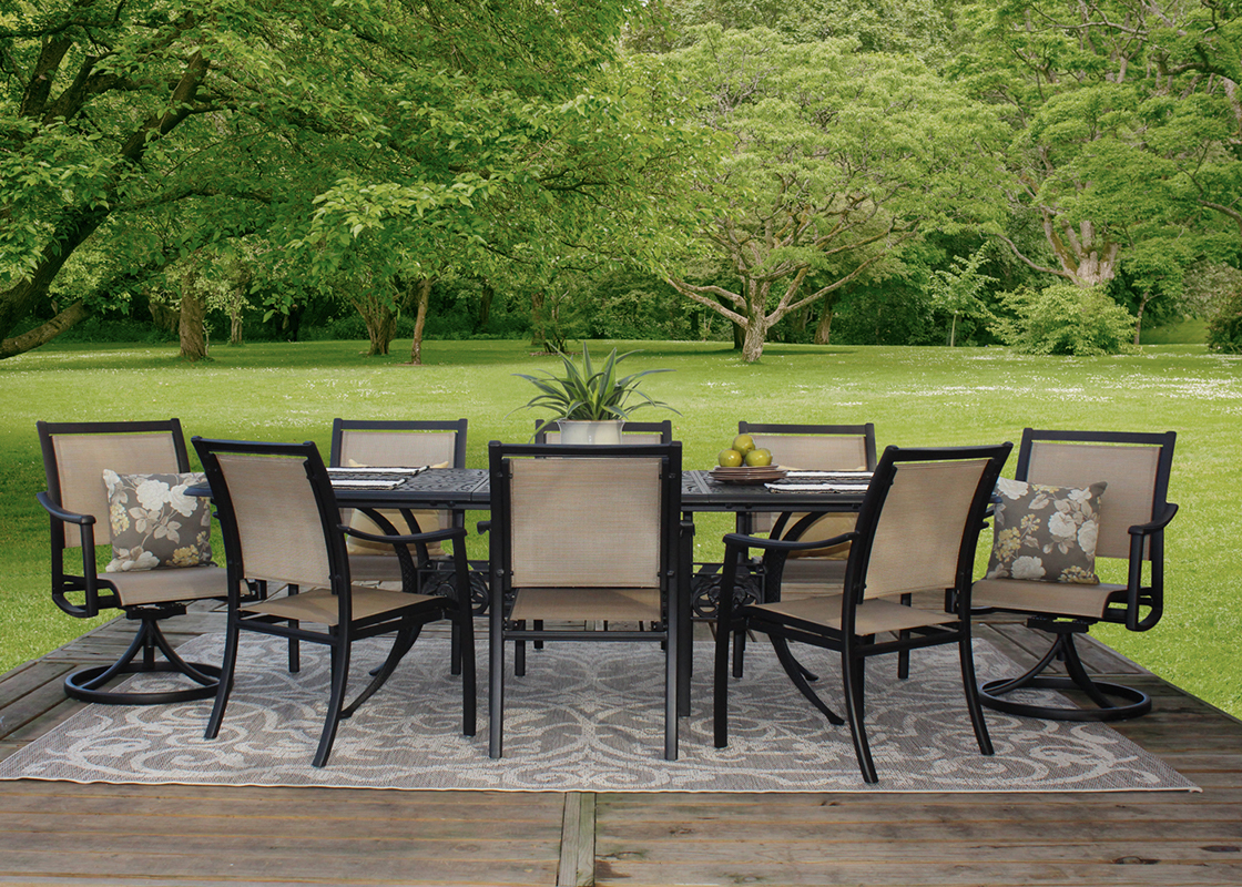 stratford 9 piece outdoor patio furniture sling dining set