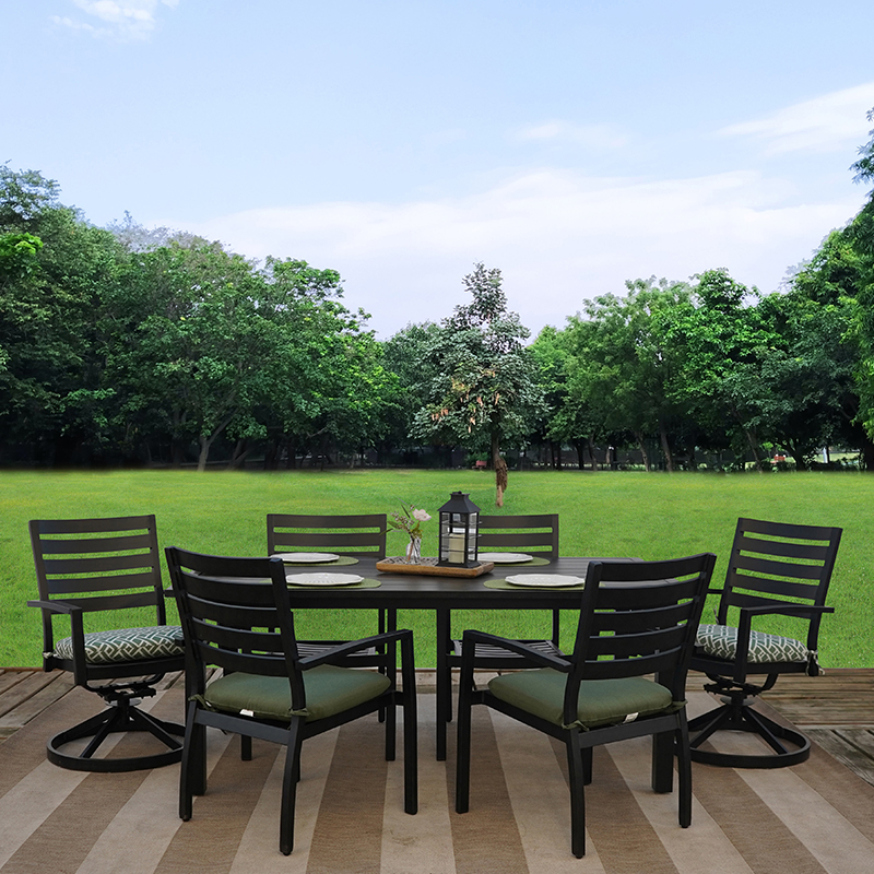 vogue 7 piece cast aluminum outdoor patio furniture dining set