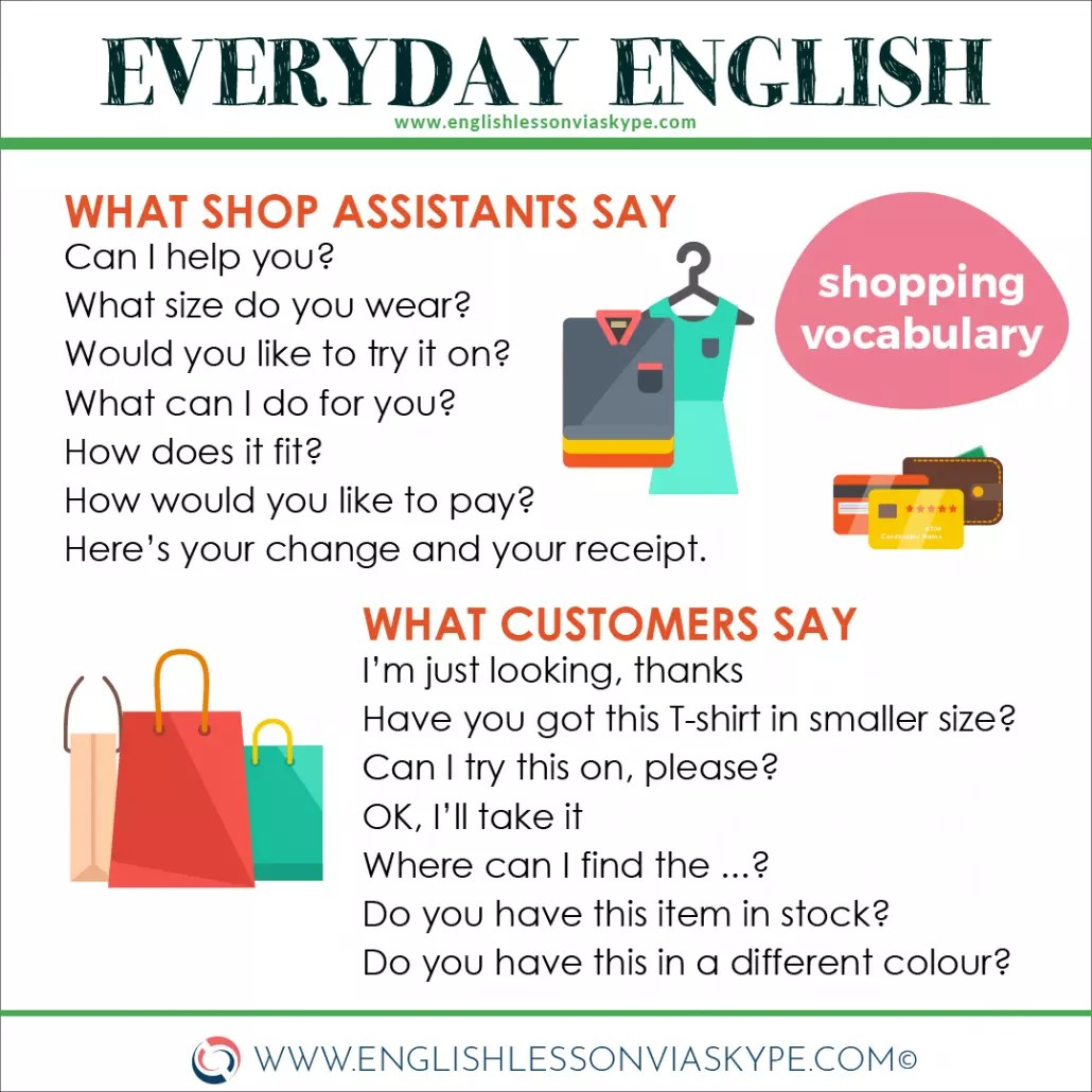 English English Words and Phrases connected to Shopping ⬇️