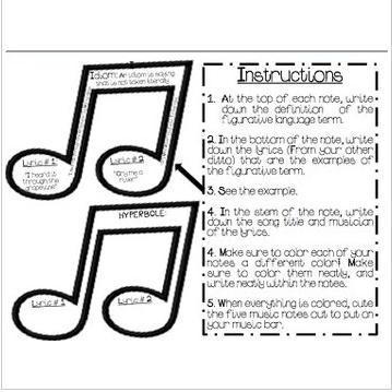 Figurative Language, Craftivity, Song Lyrics, Music