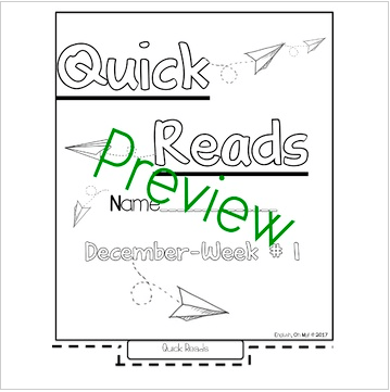 Quick Reads {December}-Passages, Reading Comprehension