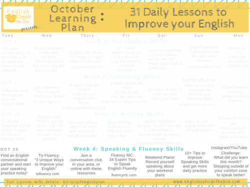 31 Daily lessons to Improve English Fluency | Learn English Online with English Outside the Box | Vocabulary