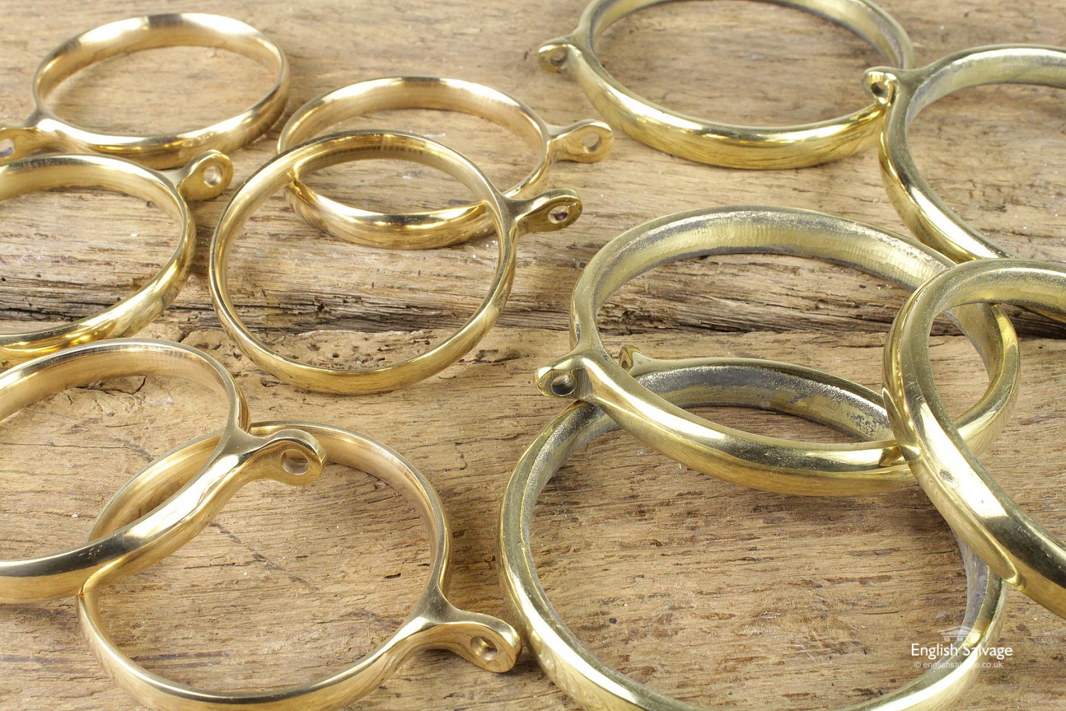 selection of large brass curtain rings