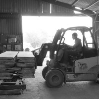 sawmilling done the forklift takes the completed oak packs ready for strapping and transport back to cocking sawmill
