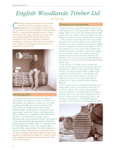 Woodland Heritage 2013 article by Peter Savill on English Woodlands Timber