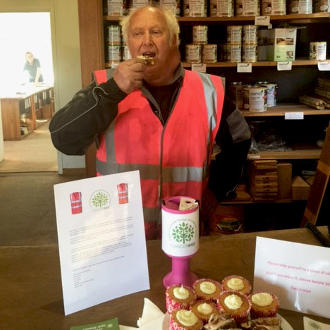 Graham has to keep his strength up somewhow and what better way then donating to eat cake