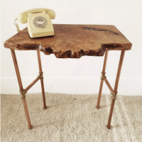 Handmade in Brighton hall table with gnarly waney edge and copper pipe legs