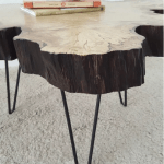 Handmade in Brighton fluted log cross section coffee table with retro metal legs detail