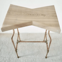 Handmade in Brighton Oak butterfly sofa table with copper pipe base and legs