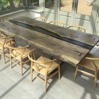 revive joinery walnut river table with natural edges from local timber
