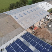 the new sheds being built and the phtovoltaics on the first