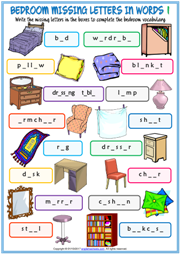 Bedroom Objects Esl Vocabulary Worksheets