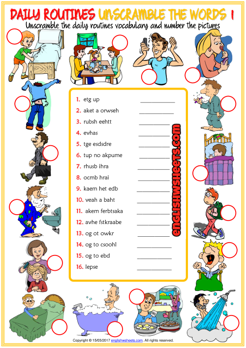 Daily Routines Esl Unscramble The Words Worksheets