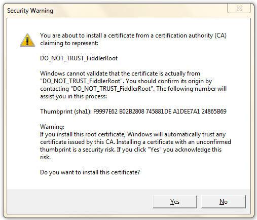 Windows Trust Prompt