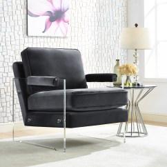 Acrylic Arm Chair Modern Dining Floating Blush Velvet