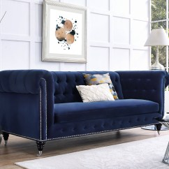 Blue Velvet Chesterfield Sofa Slipcover T Cushion 2 Piece Hand Crafted