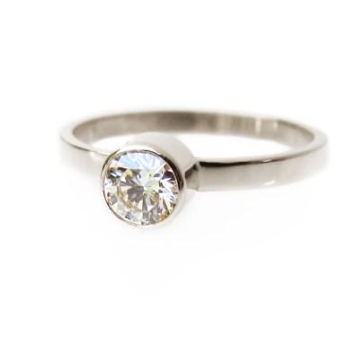 Round Bezel Diamond Solitaire Ring Eniko Kallay