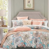 Peach Grey and Sky Blue Vintage Floral Bedding French